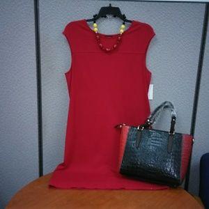 Beautiful red knit empire dress.